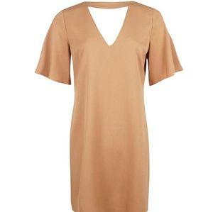 Tan Boohoo choker dress